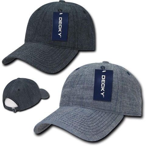 Decky Relaxed Washed Denim Low Crown Curved Bill Dad Hats Caps a3da994dbcd5