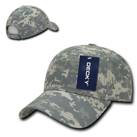 Decky Structured Camouflage Low Crown Pre Curved Bill Dad Caps Hats cab71599f62d