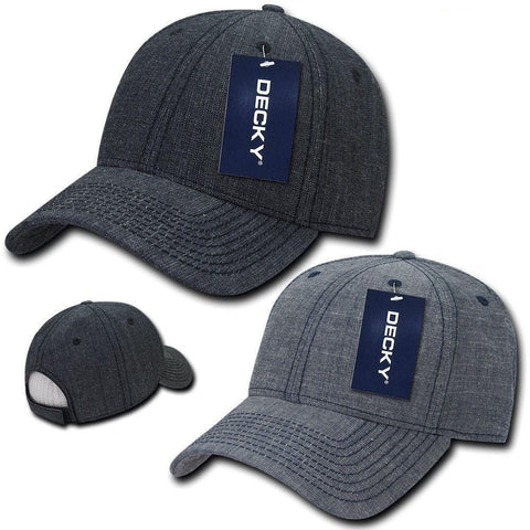 Decky Structured Washed Denim Low Crown Curved Bill Dad Hats Caps 9ec9596fb4cf