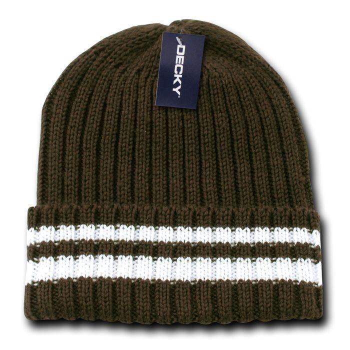 Decky Sweater Beanies Striped Thick Ribbing Knitted Skull Ski Winter Caps Hats