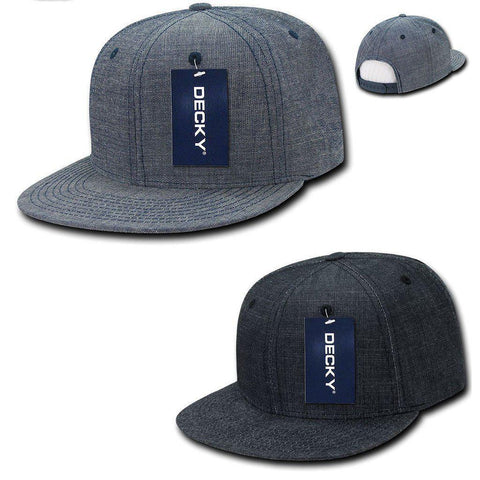 39f9c6713bf0c Decky Washed Denim Snapback 100% Cotton 6 Panel Flat Bill Hats Caps
