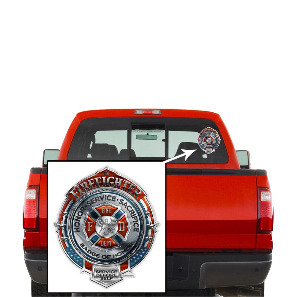 Erazor Bits Firefighter Honor Service Sacrifice Chrome Badge Reflective Decal