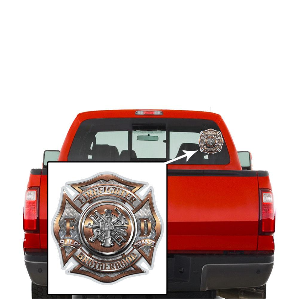 Erazor Bits Reflective Decal Firefighter Brotherhood - Brass/ Diamond Plate
