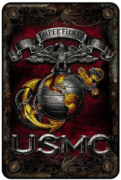 Erazor Bits Wall Art USmc Semper Fidelis Aluminum Metal Parking Sign - 8inchX12inch