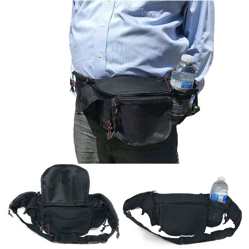 Fanny Pack Purse Travel Pouch Money Waist Belt Bag With Bottle Holder 7 Zippers 45inch