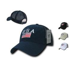 2451ace2e5760 USA US Flag Patriotic Relaxed Fit Trucker Cotton Baseball Caps Hats