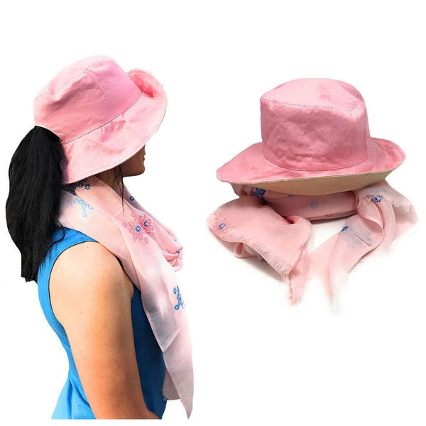 Floral Sheer Scarf And Ponytail Sun Hat Gift Set For Women Wife Mom Gi –  Casaba Shop 557da906906
