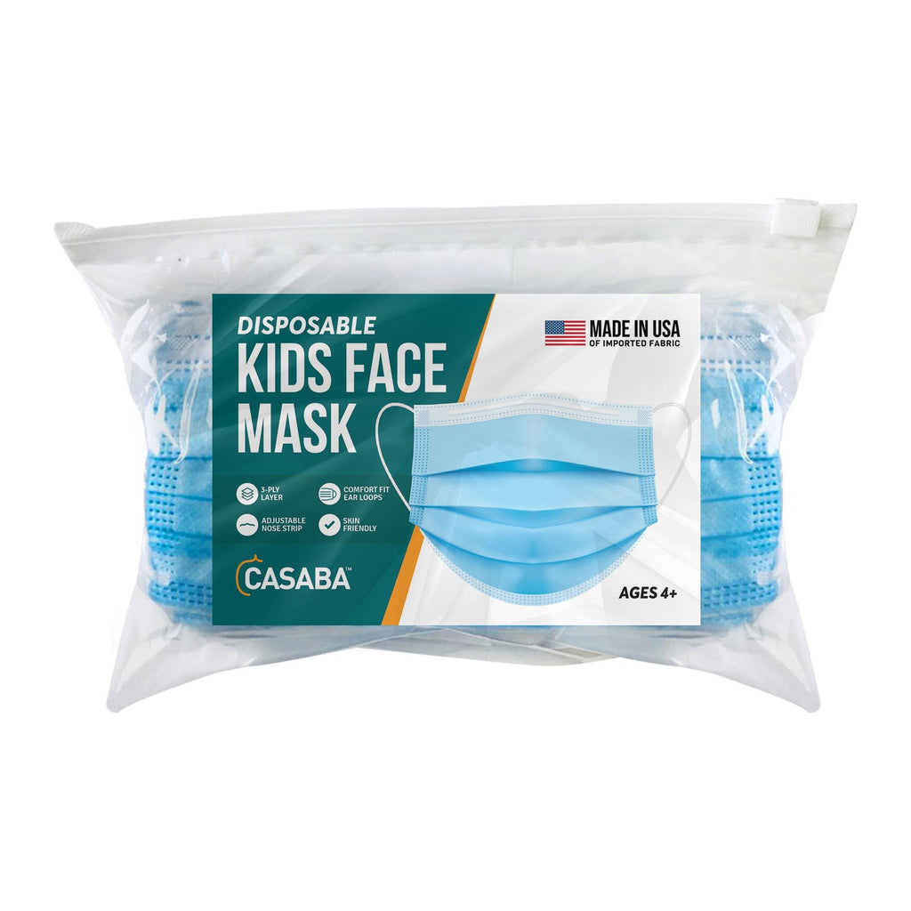 Casaba Kids 50 Pack Disposable Face Masks 3-Ply Filter - Made in USA with Imported Fabric