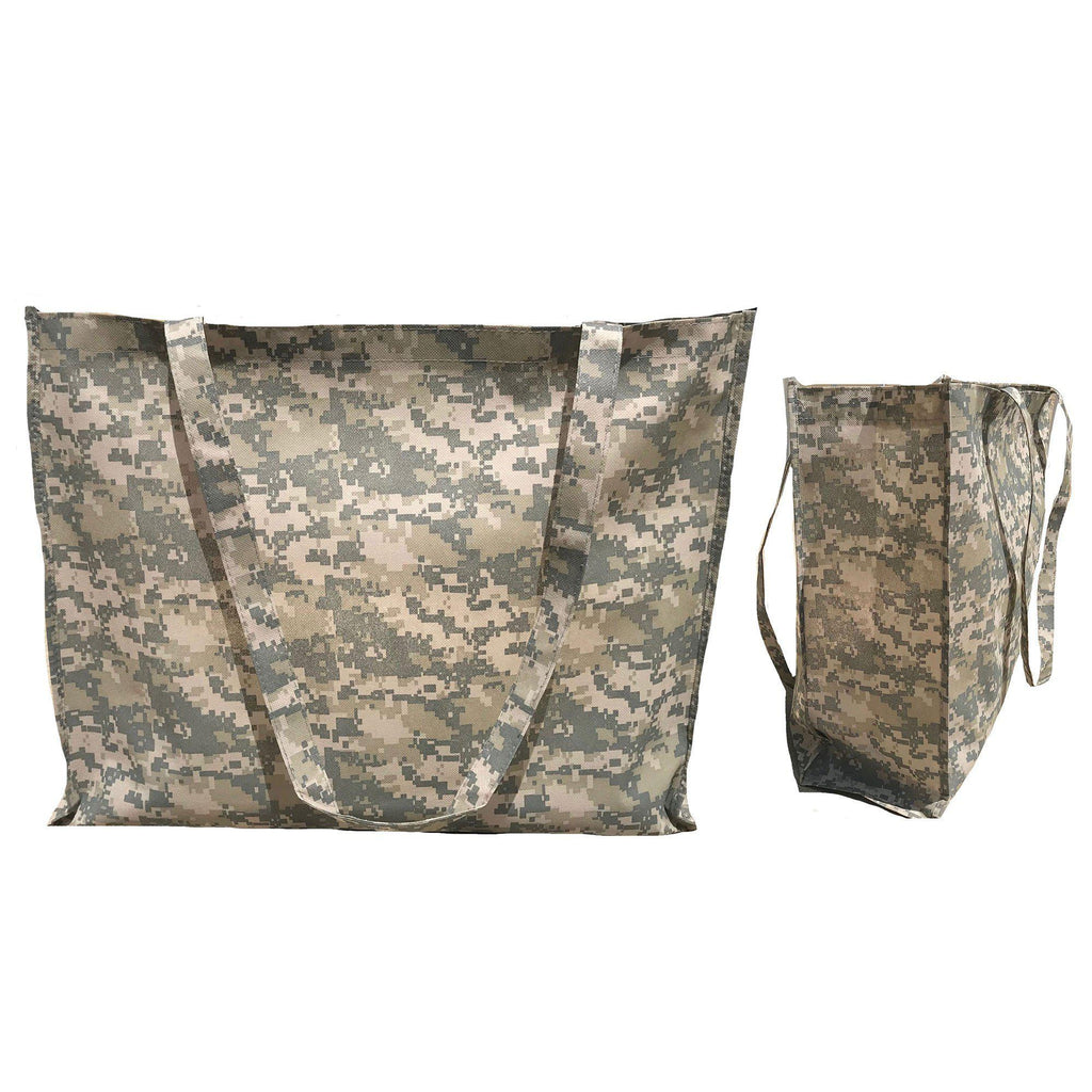 Large Reusable Grocery Shopping Totes Bags Gusset Digital Camo Camouflage 20X16inch