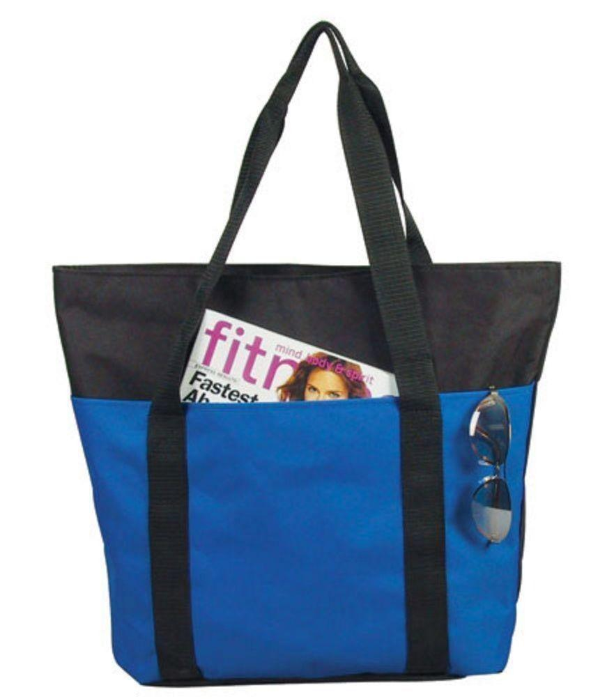 de36cd53b Large Big Reusable Grocery Shopping Bags Totes Outer Pocket Zippered Gym  Travel