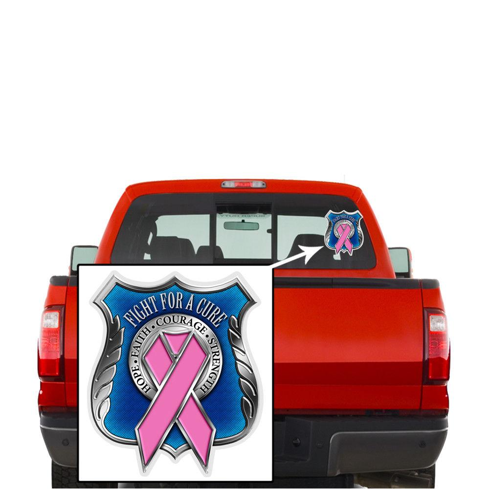 Law Enforcement Police Pink Ribbon Cure Breast Cancer Awareness Decal Sticker
