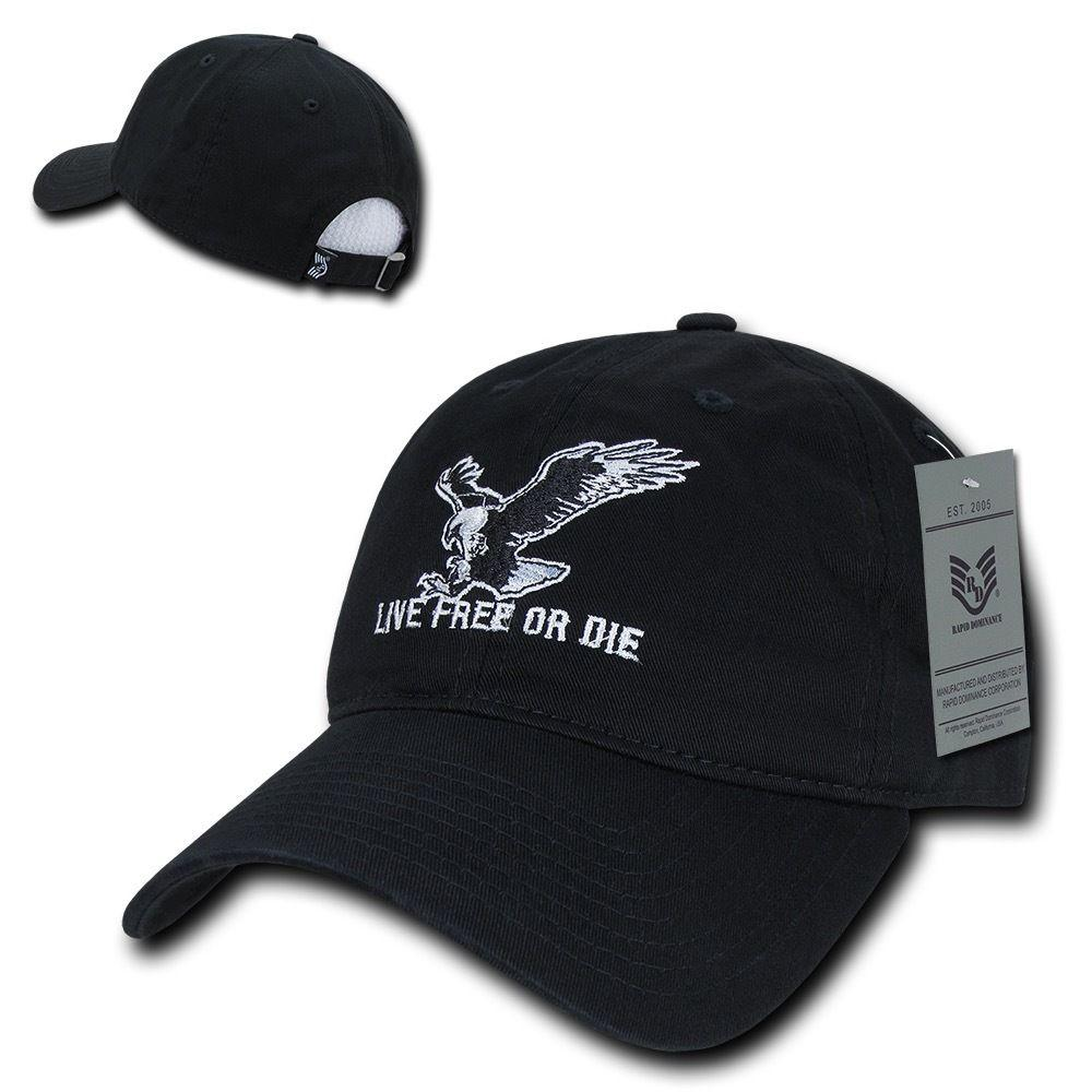 Rapid Dominance Live Free Or Die American Eagle Baseball Dad Caps Hats Washed Cotton Polo