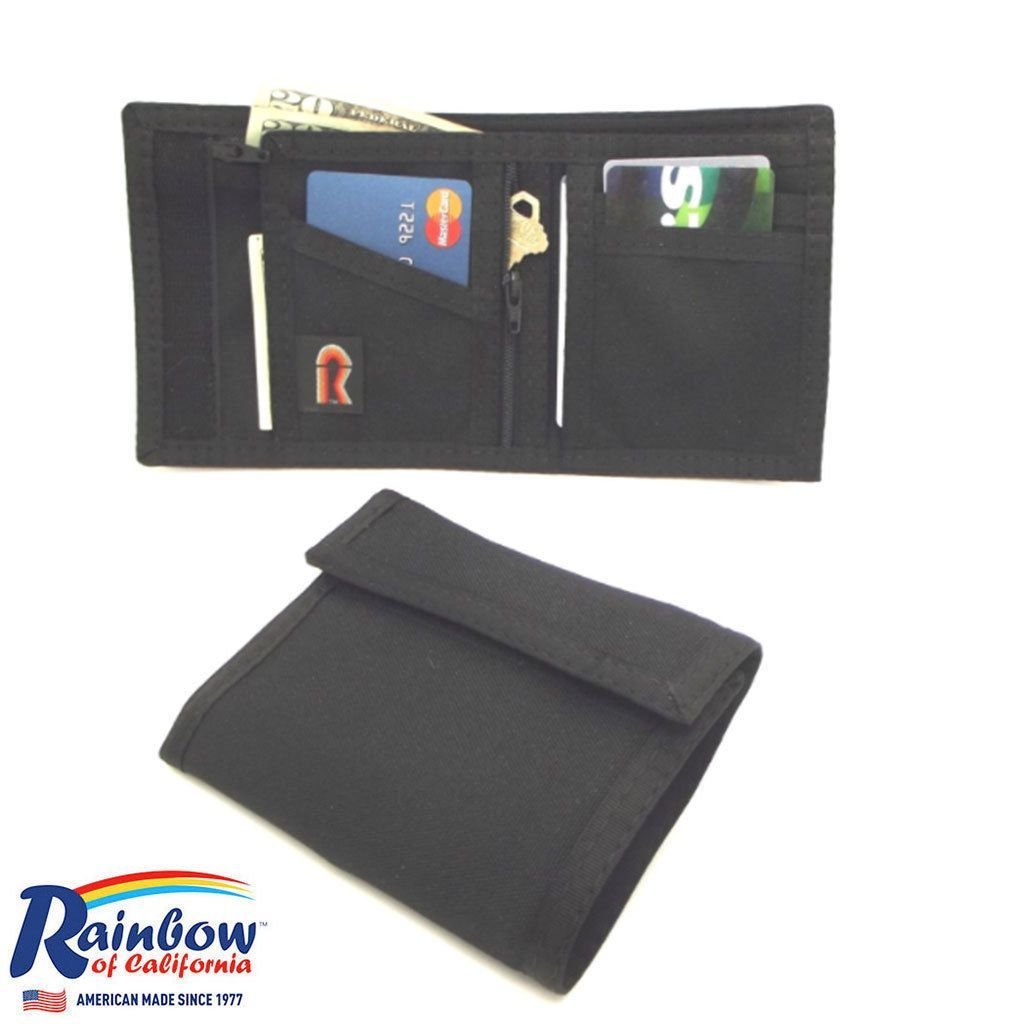 Made In USA Rainbow Of California Rfid-Blocking Panel Mens Wallet W/Zipper Coins
