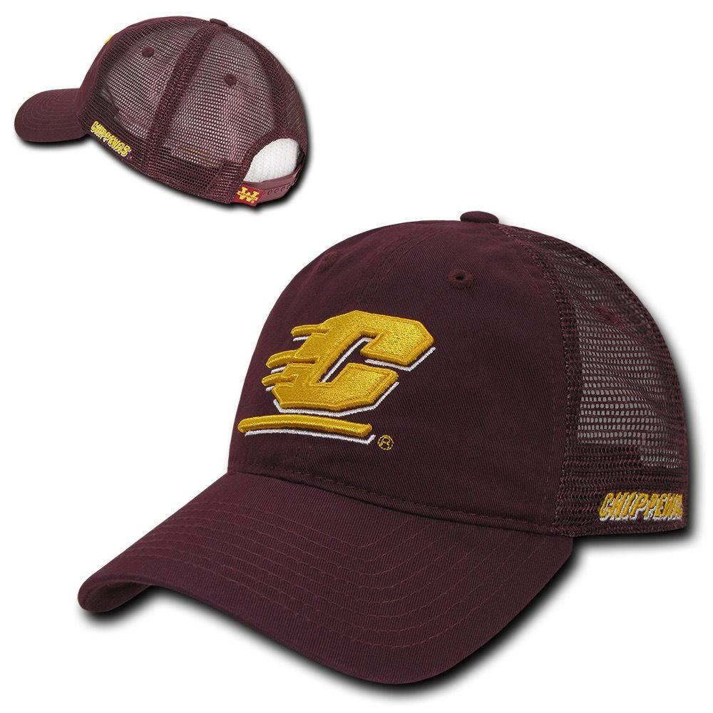 NCAA Cmu Central Michigan Chippewas University Relaxed Mesh Trucker Caps Hats