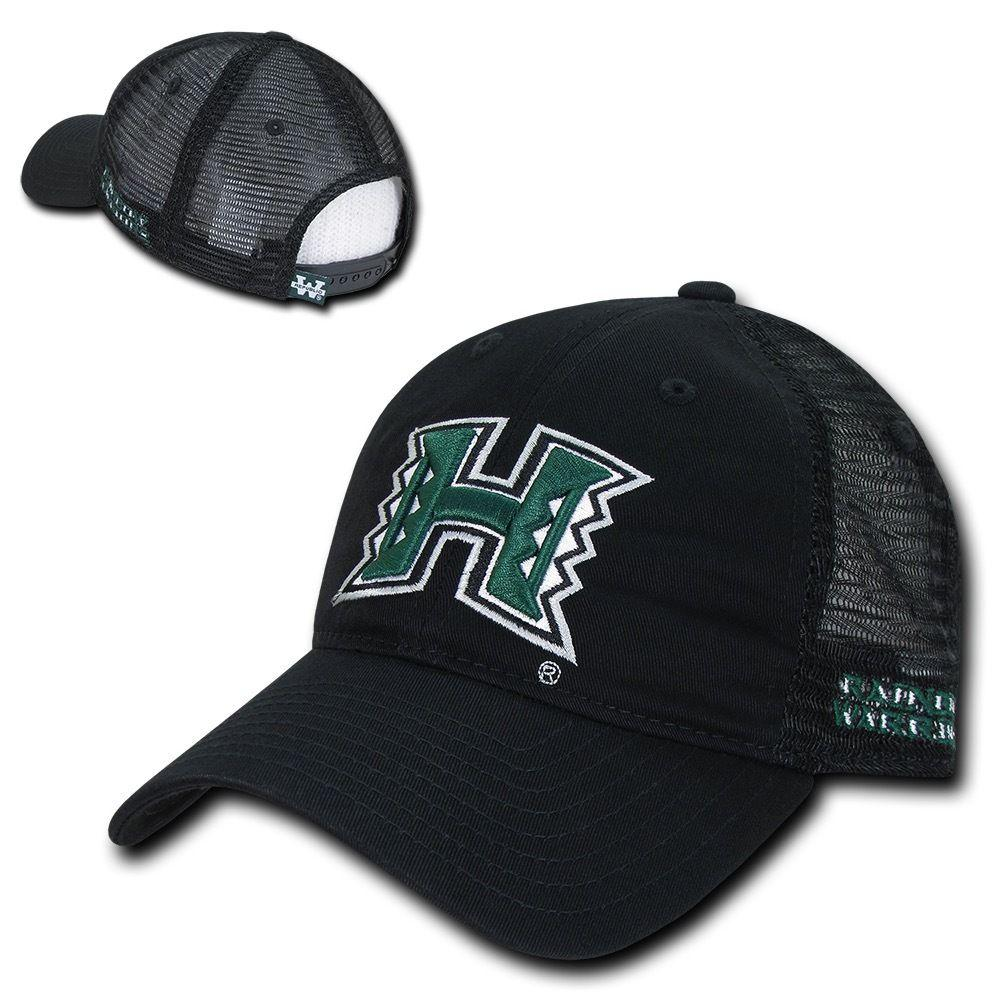 NCAA Hawaii University Rainbow Warriors Relaxed Mesh Trucker Caps Hats Black