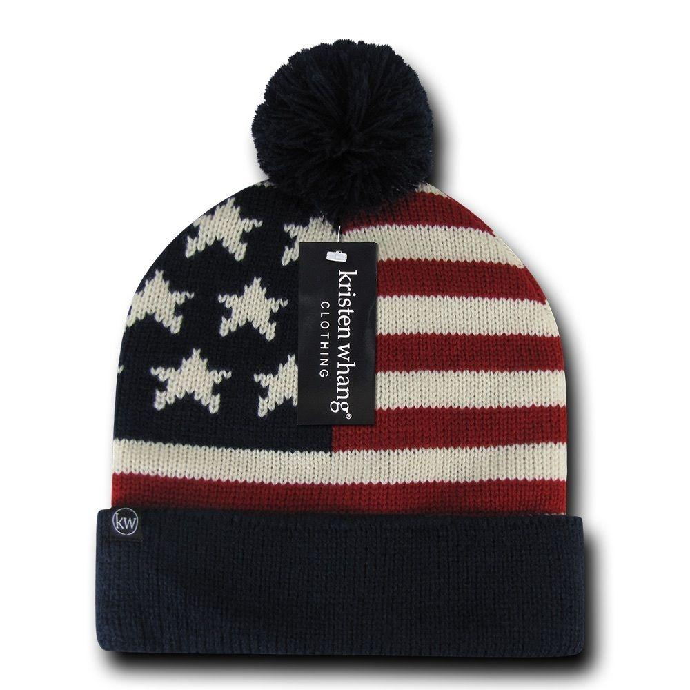 Patriotic American USA Flag Stars Stripes Beanies Caps Pom Top