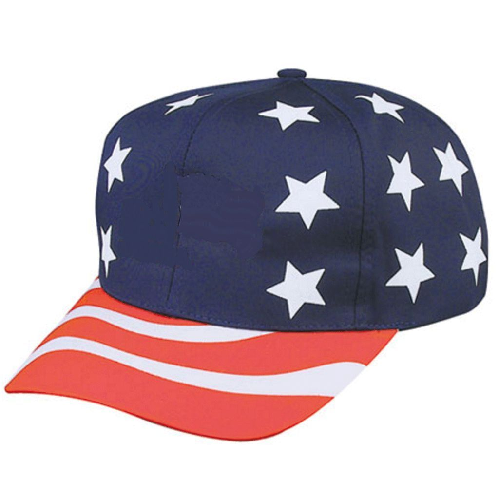Pro Style Stars Stripes USA US Flag American Patriotic 6 Panel Hats Caps