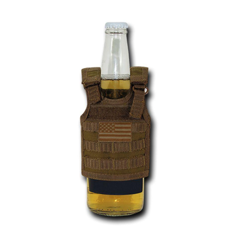 Rapdom USA American Flag Can Bottle Cooler Insulator Mini Vest Beer Soda Coyote