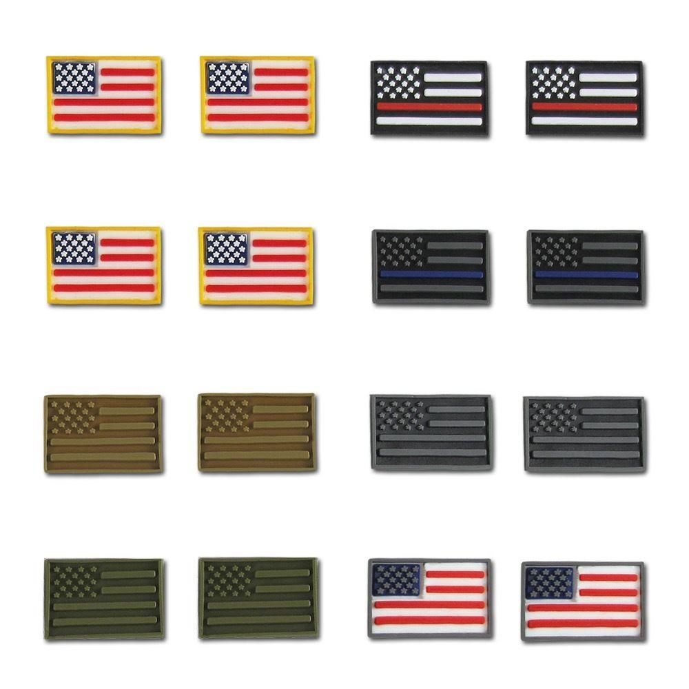 RAPDOM USA Flag Tactical Micro Patches 3 D Layered H&L Hook & Loop-Back 16 Pack