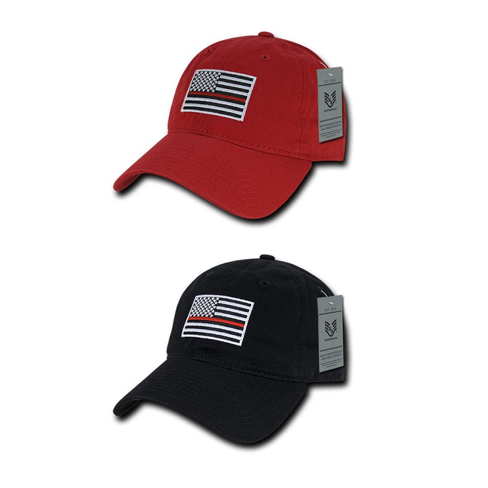 Thin Red Line American Flag Plain Hat Adjustable Back Mesh Cap for Boy /& Girl