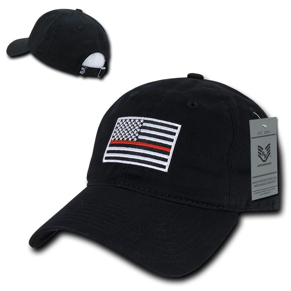 Rapid Dominance Ems Fire Department Thin Red Line US Flag Baseball Dad Caps Hats