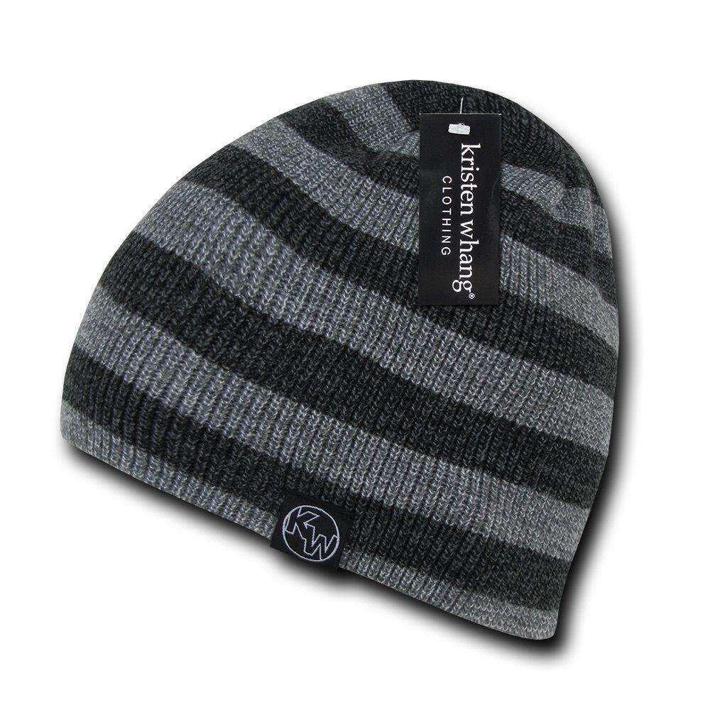 Striped Design Soft Double Lined Cuffed Uncuffed Beanies Caps Hats Winter