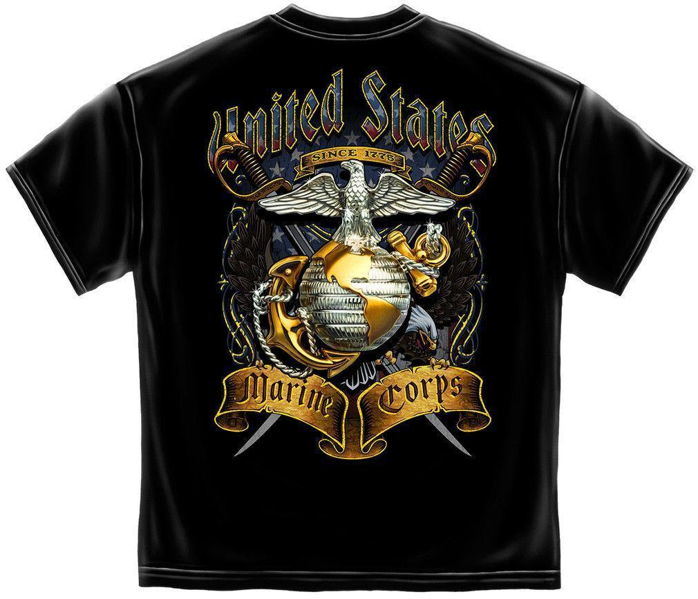 USmc Marine Crossed Swords Foil Eagle Erazor Bits T-Shirt Black