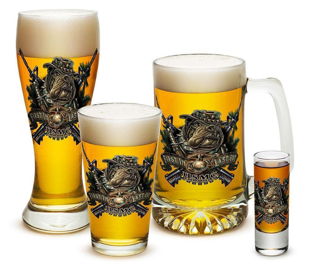 USmc Marine Devil Dog First In Last Beer Glassware 4 Piece Collector Glass Set