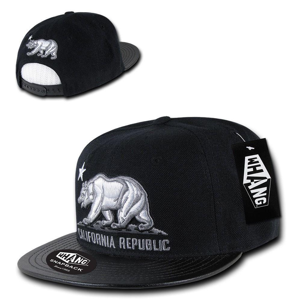 California Republic Flat Bill Snapback by WHANG Grey//Black with Red Bear New