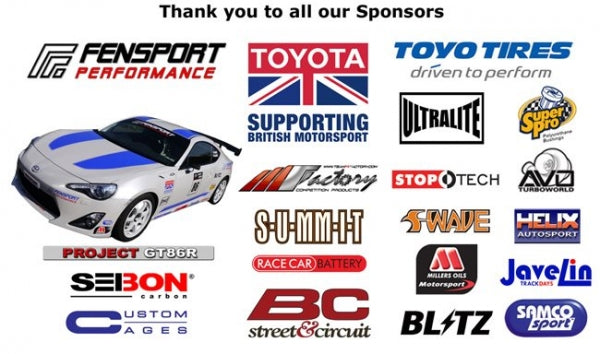 Fensport GT86R Sponsors for 2012 season