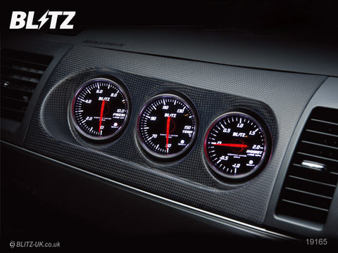 Blitz Carbon Panel - 3 x 52mm SD Gauges with Attachment Plate - 19166 - Evo X