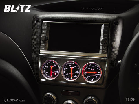 Blitz Carbon Panel - 3 x Red 52mm SD Gauges with Attachment Plate - 19170 - Impreza GH8, GRB, GVB