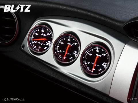 Blitz Racing Meter Panel - Silver + Temp, Temp & Pressure Red SD Gauges - GT86 & BRZ