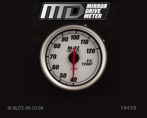 Blitz MD Exhaust Temp Gauge - White - 19458