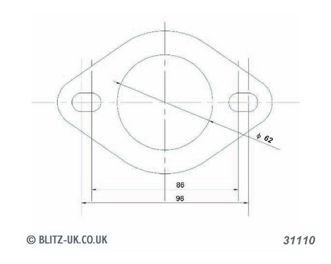 Blitz Exhaust Gasket - 31110 - 62mm Bore - 2 bolt fixing 86-98mm centres