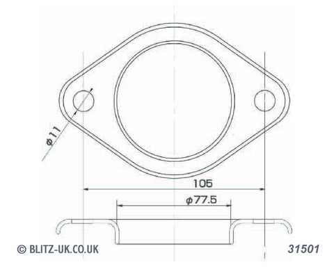 Blitz Exhaust Gasket - 31501 - 76mm Bore - 2 bolt fixing, 11mm x 104mm centres