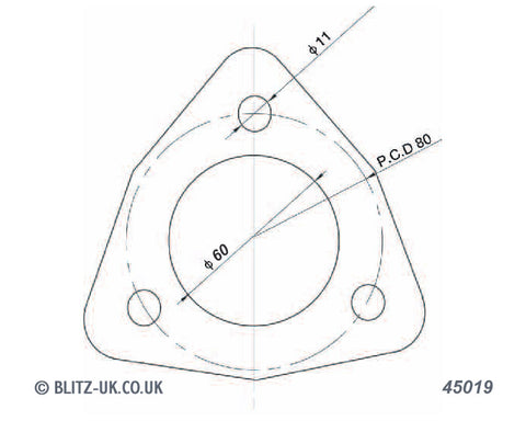 Blitz Exhaust Gasket - 45019 - 60mm Bore  - 3 bolt fixing 11mm x 80mm pcd