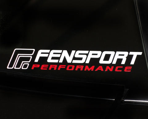 White-Red Medium Fensport Performance Sticker (30cm X 4.5cm)