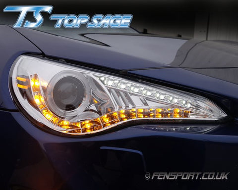 Top Sage Headlights - With Led Ring - Chrome - GT86 & BRZ