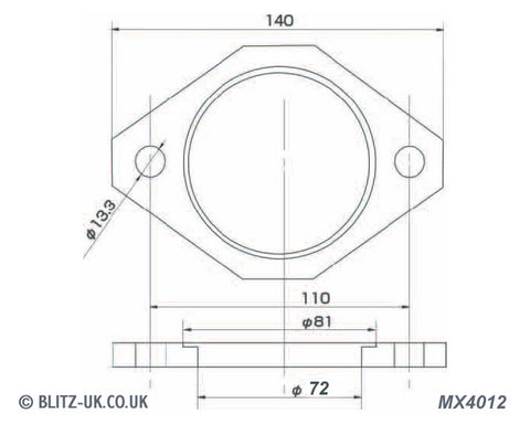 Blitz Exhaust Gasket -MX4012 - 72mm Bore - 2 bolt fixing 13.3mm x 110mm centres