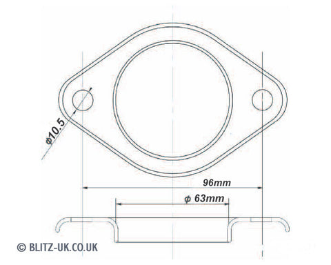 Blitz Exhaust Gasket - MX4015 - 63mm Bore - 10.5mm X 96mm centres