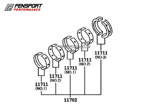 Crankshaft Main Bearing Set - Genuine Toyota - Std Size - GT86 & BRZ