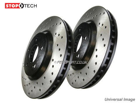 Brake Discs - Rear - Stoptech - Grooved - Lexus IS-F