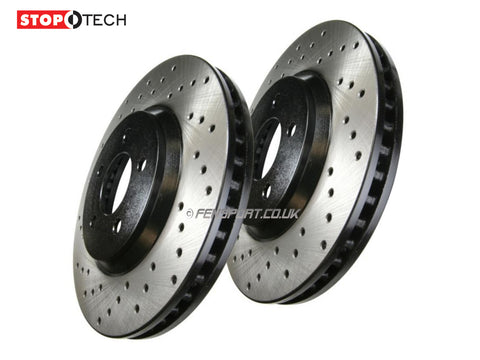 Brake Discs - Front - Stoptech - Grooved - Lexus IS-F