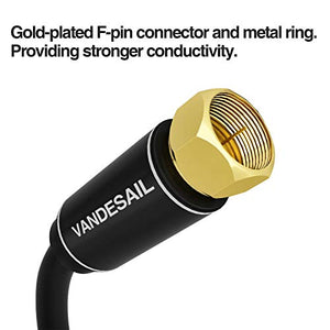 Coaxial Cable Triple Shielded, 15 FT VANDESAIL RG6 Coax Cable 75 Ohm with Gold Plated F-Type Connector Pin TV Cable, for Cable TV, Antenna, Satellite and More(Black)