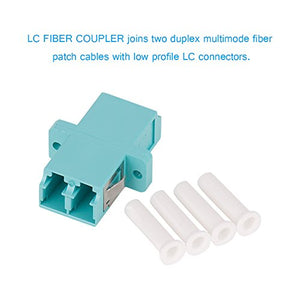 VANDESAIL Fiber Optic Adapter, LC to LC Duplex Multimode Fiber Optic Cable Adapter Coupler OM1 OM2 OM3 OM4