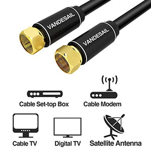 Coaxial Cable Triple Shielded, 50 FT VANDESAIL RG6 Coax Cable 75 Ohm with Gold Plated F-Type Connector Pin TV Cable, for Cable TV, Antenna, Satellite and More(Black)