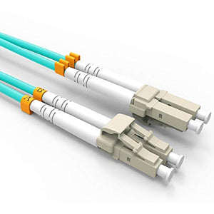 Fiber Patch Cable, VANDESAIL 10G Gigabit Fiber Optic Cables with LC to LC Multimode OM3 Duplex 50/125 OFNP (10M, OM3-2Pack)