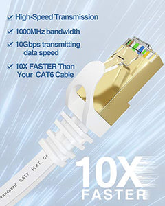 Ethernet Cable, VANDESAIL CAT7 Network Cable RJ45 High Speed STP LAN Cord (2m/ 6.5ft, White-2pack)