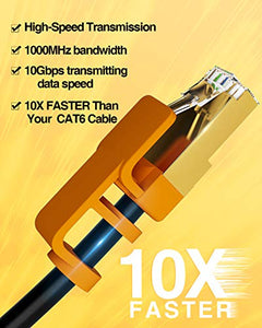 Ethernet Cable, VANDESAIL Strengthened Premium CAT7 Patch Cable (Round, 50ft-1Pack)